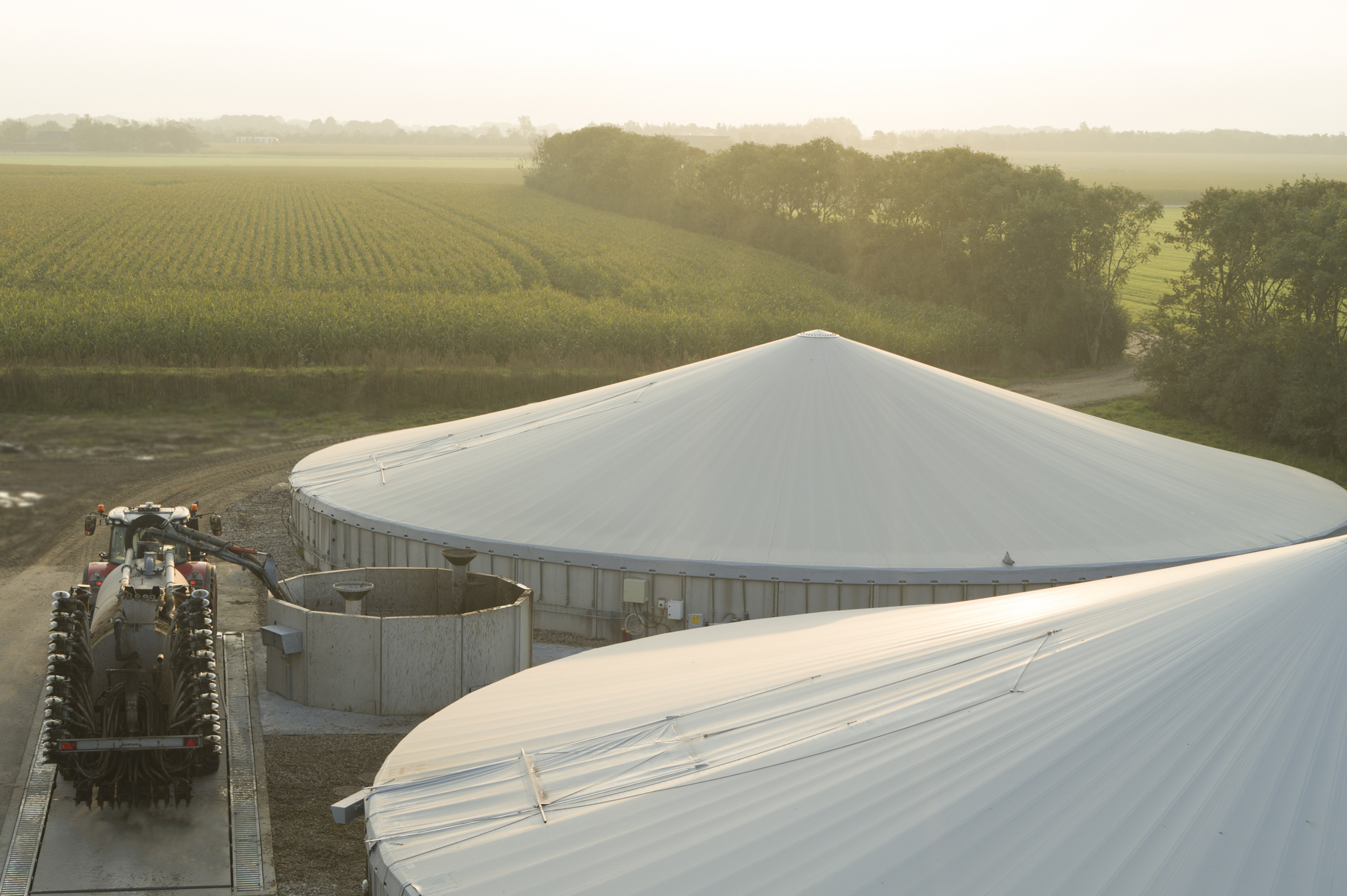 The liquid sludge and manure inserted into the biogas plant